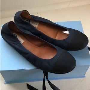 Lanvin navy with black toecap classic ballet flats